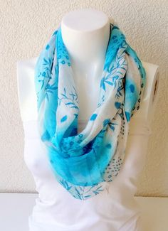 Scarf With Blue Flax ColourLoop Scarfinfinity by BestScarf on Etsy, $19.90