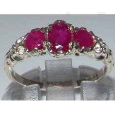 Ladies Solid White 10K Gold Natural Ruby English Victorian Trilogy Ring – Size 8 – Finger Sizes 5 to 12 Available – Ideal gift for Valentines, Mothers Day, Birthday, Christmas, Thanksgiving, Graduation, Confirmation, Easter http://www.easterdepot.com/ladies-solid-white-10k-gold-natural-ruby-english-victorian-trilogy-ring-size-8-finger-sizes-5-to-12-available-ideal-gift-for-valentines-mothers-day-birthday-christmas-thanksgiving-graduatio/ #easter  One centre oval cut 6×4 mm (0.24″ x 0..