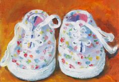 Small Colorful Original Painting of Little Girls Sneakers #oilpaintings #artforsale #smalloilpaintings #etsy