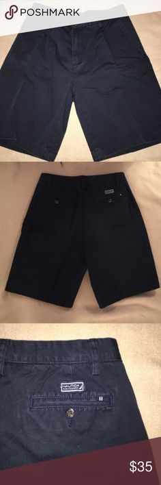 Nautica Navy Blue Chino Shorts 32 Nautica Navy Blue Chino shorts. In great condition. Size 32w. Check out my closet for other men's shorts/pants in this size and bundle discount! Nautica Shorts Flat Front