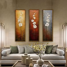 7.29AUD - 3Pcs Colorful Flower Canvas Oil Print Painting Picture Wall Home Decor Unframed #ebay #Home & Garden