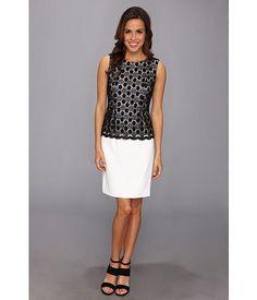 Calvin Klein Calvin Klein  Crochet Twofer Dress BlackWhite Womens Dress for 75.99 at Im in!