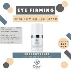 The best product for eye firming: Ultra Firming Eye Cream. www.dearbyrenee.com for flawless youthful skin💕 . . Follow us on Instagram👇 👄 @dearbyreneeexpert 👄 @dearbyrenee . . . . #fashion #makeup #beauty #style #hair #beautifulskin #eyes #lips #hairstyles #dresses #beautyaddict #makeuptutorial #diy #heels #dearbyrenee #nails #face #antiaging #eyebrows #skincare #selflove #pregnant #facial #prenatal #facemask #accessories #flawless #nailart #makeupartist #trends