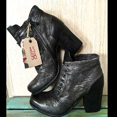 Free People A.S.98 black  High Heel Ankle Boot 39 Free People X A.S.98 black & smoke Weekender Shawnie High Heel Ankle Boots Booties Victorian inspired leather ankle boots featuring textured leather and contrast leather accents.  Rounded toe with distressed detailing and a stacked heel. Inside exposed zipper closure for an easy on/off.  New In Box  *  Size:  39  *runs true to size  Measurements: Shaft: 4 in = 10 1/4 cm  Heel: 3 1/2 in = 9 cm Free People Shoes Ankle Boots & Booties