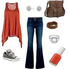 LOVE almost everything about this outfit... flare, nope... razor tank, yep... sandals over converse... the color is hot!