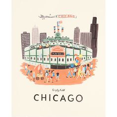 rifle paper co chicago print- wrigley field