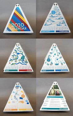 Trianguler calendar great as a creative design because of its shape and use of colour.