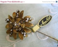 ON SALE... Early Miriam Haskell Floral Rhinestone Brooch Lapel Hat Stick Pin Orig Tag