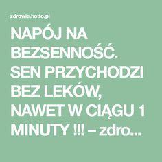 NAPÓJ NA BEZSENNOŚĆ. SEN PRZYCHODZI BEZ LEKÓW, NAWET W CIĄGU 1 MINUTY !!! – zdrowie.hotto.pl, domowe sposoby popularne w necie