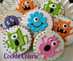 Little Monster Decorated Cookies Birthday Party Cookie Favors One Dozen - inspiration! Fall Cookies, Cookies For Kids, Cute Cookies, Easter Cookies, Birthday Cookies, Making Cookies, Heart Cookies, Valentine Cookies, Monster Party