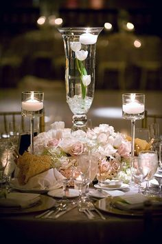 Elegant Centerpiece of floating flowers | Beverly Wilshire Four Seasons Hotel #LuxBride