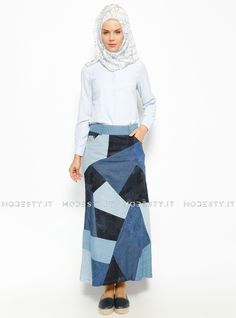 islamische kleidung fuer frauen mymodestystyle.com besuchen sie unsere shop #hijab #abayas #tuekische kleider #abendleider #islamischekleidung  Patchwork Patterned Denim Skirt - Blue - Neways - <p>Fabric Info:</p> <p>98% Cotton</p> <p>2% Lycra</p> <br> <p>Unlined</p> <p>Weight: 0.408 kg</p> <p>Measures of 38 size:</p> <p>Height: 96 cm</p> <p>Waist: 80 cm</p> <p>Hips: 96 cm</p> - SKU: 226773. Buy now at http://muslimas-shop.com/patchwork-patterned-denim-skirt-blue-neways.html