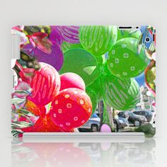 BALLOON LOVE:  #Tropical #Pop #iPad #Case by Vikki Salmela - $60.00 #tropical #balloon #party #photographic #art for #iPad #laptop #case #accessory for #office #home #gift. #Red #green #purple #flowers, available in other #products.