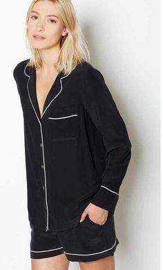 e820a926d2 Equipment Lillian Short Pajama Set  silklingerie Black Silk Pajamas