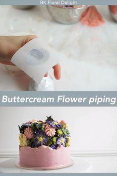 Buttercream Flowers Tutorial, Buttercream Cake Designs, Frosting Flowers, Cake Decorating Frosting, Cake Decorating Designs, Cake Decorating For Beginners, Creative Cake Decorating, Cake Decorating Techniques, Buttercream Flower Cake