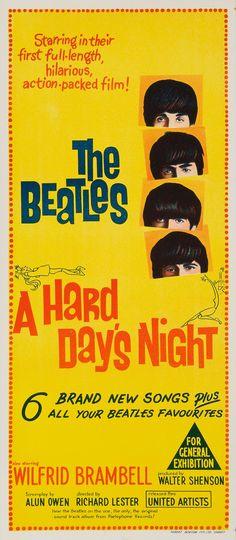 Original Vintage Posters -> Cinema Posters -> The Beatles A Hard Days Night - AntikBar Best Movie Posters, Classic Movie Posters, Cinema Posters, Concert Posters, Music Posters, Original Movie Posters, Day And Night Movie, A Hard Days Night, Day For Night