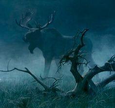 Robert Bateman - Bull Moose 36 x 48 Acrylic on canvas Moose Hunting, Bull Moose, Moose Art, Wildlife Paintings, Wildlife Art, Animal Paintings, Moose Pictures, Moose Pics, Deer Family
