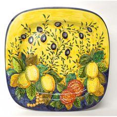 "Tuscan Mediterranean Harvest 16X16"" Square Serving Platter"