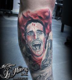 Christian Bale / American psycho tattoo by Sami Haataja @ La Muerte Ink