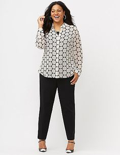 She's this season's style inspiration: meet the Muse Shirt. Light-as-air, soft and semi-sheer, this dot print shirt gives the classic buttondown a fresh makeover with a modern split-back high-low hem. Pointed collar, covered placket and double-button cuffs complete the look.  lanebryant.com