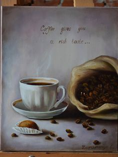 Painting with coffee Still life  Original oil painting