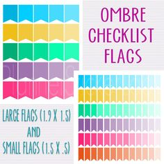 Ombre Checklist Flag Printable PlannerOmbre by PlannerStickerLady