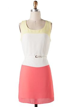 Citrus Grove Belted Color Block Dress - Yellow   Coral $52.00