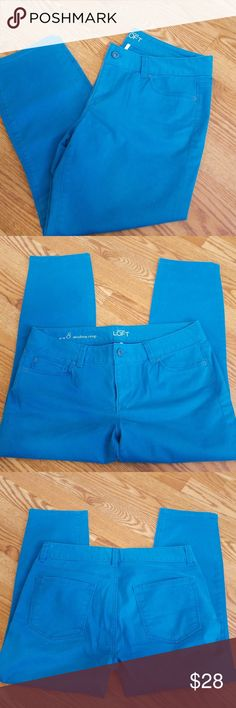 """🌺 LOFT modern crops Teal blue modern crops from LOFT. Never worn and in excellent condition. 5 pockets, 24"""" inseam. 34"""" waist. 98% Cotton/2% Spandex. It was difficult to capture the color with my phone,  but the last picture is the truer color. Also available in a spring green!! LOFT Pants Ankle & Cropped"""