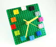 LEGO Plate clock with colorful bricks. fun home accessory geek decor