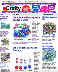 Save 20% on all beads, crafts, jewelry supplies at eCrafty.com with checkout code AUG2015. Here's our August issue with FUN and EASY Jewelry DIY ideas! www.eCrafty.com #jewelrysupplies #beads #crafts #etsy #handmade #diy #jewelry
