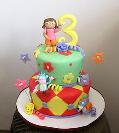 dora cake: Baked 8 inch chocolate cake and 6 inch vanilla cake 3 layers of each. Put them together ice and cover with home made fondant icing. Cut with cookie cutter Birthday Parties, Birthday Cake, Third Birthday, Birthday Ideas, Dora Cake, Edible Creations, Fondant Icing, Bakery Cakes, Cake Boss