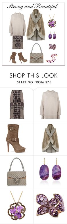 """""""Strong and Beautiful"""" by karen-galves ❤ liked on Polyvore featuring Open End, The Row, Jimmy Choo, Betty Barclay, Gucci, LE VIAN, Enigma and AZ Collection"""