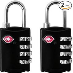 TSA Luggage Locks Pack) - 4 Digit Combination Steel Padlocks - Approved Travel Lock for Suitcases and Baggage - Black -- Check this awesome product by going to the link at the image. (This is an affiliate link) Best Luggage, Travel Luggage, Travel Bags, Must Have Travel Accessories, Suitcase Backpack, No Plastic, Baggage, The Ordinary, Padlocks