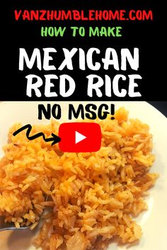 Authentic Mexican Rice, if you don't want to be using MSG in your food, then this recipe is for you. The way I was taught to make rice was to develop the fla. Healthy Mexican Recipes, Healthy Dinner Recipes, Mexican Cooking, Vegetarian Meals, Delicious Recipes, Healthy Cooking, Cooking Recipes, Cat Recipes, Free Recipes