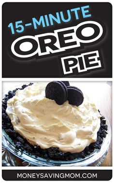 This Oreo Pie is one of the simplest recipes in existence and it is SO yummy! Make it for your next get-together and you will have everyone raving about it. Easy Desserts, Delicious Desserts, Dessert Recipes, Yummy Food, Oreos, Oreo Pie Recipes, Cake Recipes, Yummy Treats, Sweet Treats
