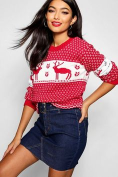 Snowflake and Reindeer Knitted Christmas Jumper Knitted Christmas Jumpers, Christmas Knitting, Sequin Sweater, Polo Neck, Pulls, Boohoo, Snowflakes, Night Out, Knitwear