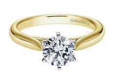 Yellow gold solitaire diamond engagement ring. Gabriel ER6668M44JJ #seneedhamjewelers #loganutah