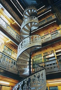 amazing library and spiral staircase...