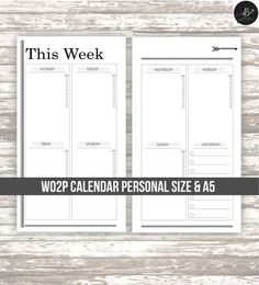 Week on two page calendar for your planner • personal size • A5 • DIGITAL printable Simple & Chic weekly calendar to embellish your personal planner! Print as much as you want! *MONDAY TO SUNDAY with IMPORTANT section to not miss a thing & water tracker. Perfect for Filofax
