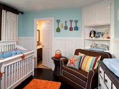 Small Space/Big Storage Idea  Nurseries are often tight quarters. Make the most of the space you have with built-ins. This handy corner cabinet provides both hidden storage for the not-so-cute necessities and open shelves for showing off baby's favorite toys. Design by Rate My Space user littlecrowninteriors.
