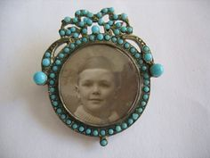 belaquadros:    Antique victorian turquoise picture brooch