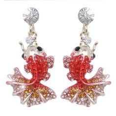 Cute-Art-Deco-Fish-Goldfish-Necklace-Earrings-Set-Orange-Rhinestone-Crystal
