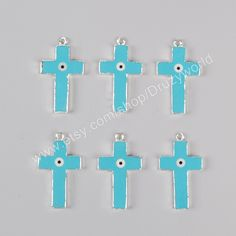 Wholesale Silver Plated Cross Howlite Blue Turquoise Evil Eye Charm White Shell Evil Eye Charm Turquoise Jewelry  For Necklace Design  S0926 by…