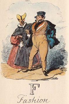 """F: Fashion"" from ""A Comic Alphabet"" by George Cruikshank (1836)"