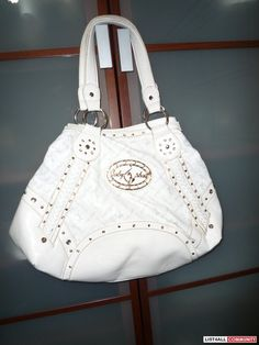 blingy hobo purses | White baby phat hobo bag with rhinestone detail. Has green silk materi