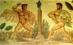 The Duel between Erechtheus and Eumolpus, Fresco in the Town-Hall of Athens Hades, Orthodox Icons, Fresco, Mythology, Illustration, Painting, Town Hall, Athens, Artists