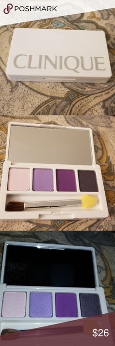 Clinique Eyeshadow Quad! Brand new unused!  4 colors with mirror and applicator!  Negotiable!  Consider bundling with other makeup!   See my closet! Makeup Eyeshadow