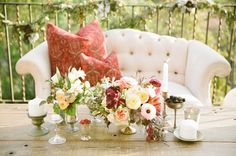 blush pink, cream, and merlot florals and rustic gold decor