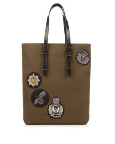 Alexander McQueen | Green Badge-embellished Canvas Tote | Lyst