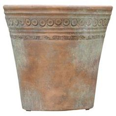 """Hand-thrown planter.  Product: PlanterConstruction Material: ClayColor: Rustic patinaFeatures:  Hand-thrown by skilled pottersDesign based on 19th century English greenhouse pots Dimensions: 6.5"""" H x 6.5"""" DiameterCleaning and Care: Bring indoors before frost"""